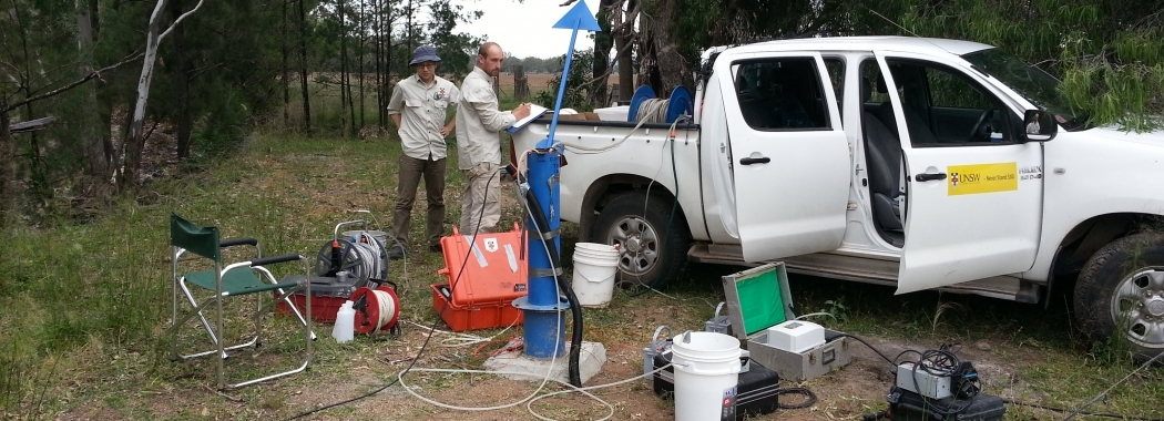 Dr Mark Cuthbert and PhD student Calvin Li sampling groundwater bores in the Maules Creek catchment