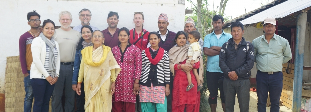 PLuS alliance team with LIBIRD staff and local residents in the Madhyabindu Climate Smart Village (photo LIBIRD)