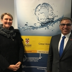 UNSW's Dr. Susanne Schmeidl and Dr Zafar Adeel,Executive Director at the Pacific Water Research Centre at Simon Fraser University