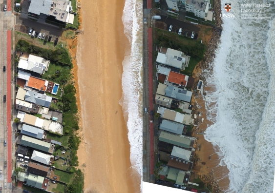 Aerial drone survey of the damaged foreshore in Sydney's Collaroy Beach. Left: 1 June 2016. Right: 7 June 2016. Photos by UNSW Water Research Laboratory
