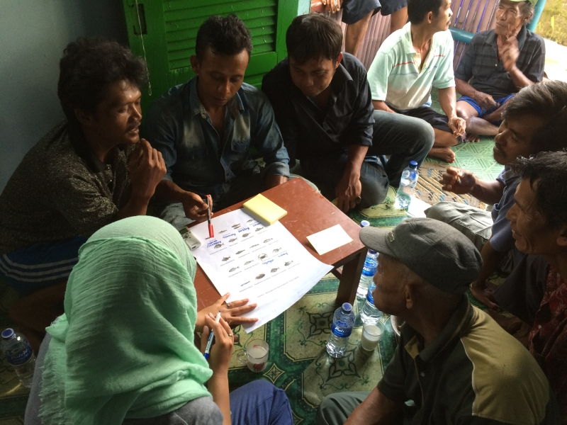 A group discussion with traditional fishers, held during the field trip to Muara Angke, Jakarta