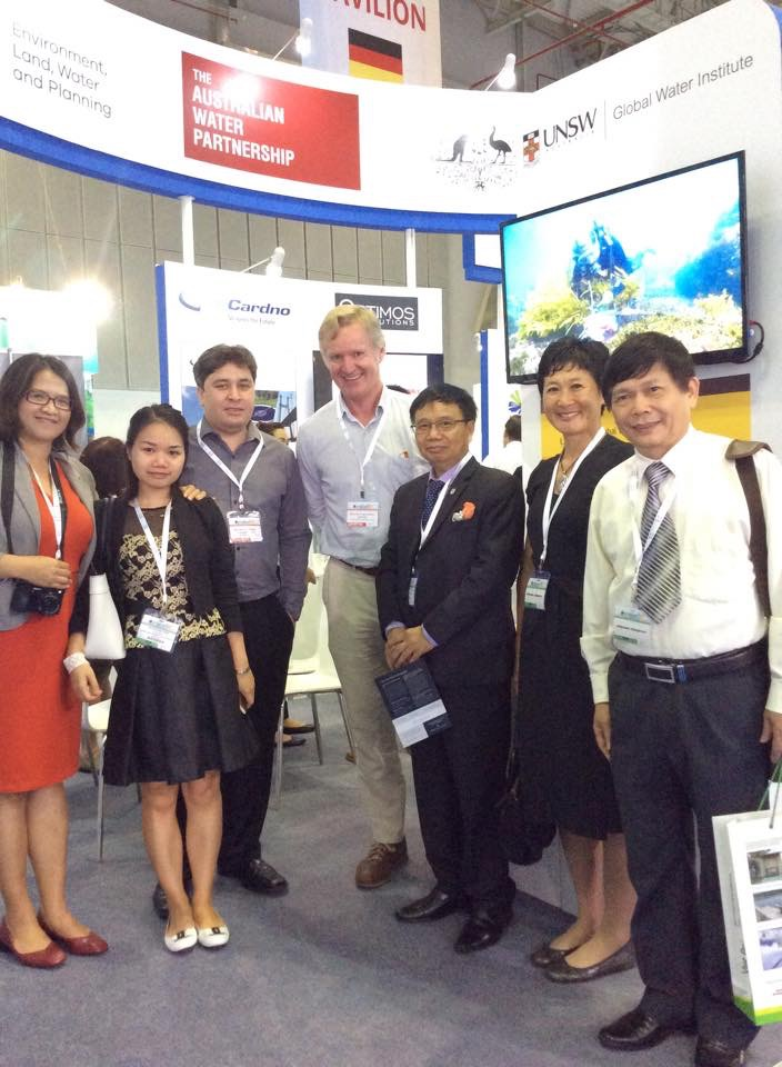 At VietWater 2016 (L-R): Huong Nguyen, Water Professional/Civil Engineer; Hong Trang Nguyen, PhD Candidate, QUT; Dr Peter Kovalsky, UNSW; Professor Nick Schofield, UNSW Global Water Institute; Dr Nguyen Hong Tien, Director of Administration of Technical Infrastructure, Ministry of Construction; Yvonne Chan, Senior Trade Commissioner Vietnam, Austrade; Professor Tran Duc Ha, Institute of Environmental Science and Engineering (Image credit: AWA).