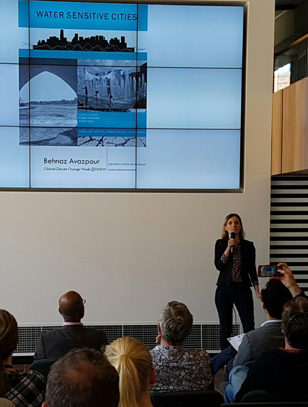 Behnaz Avazpour presenting water sensitive cities and their effect to adapt climate change effects, Climate Change Week, UNSW, October 2018. Credit: Jonathan Doig