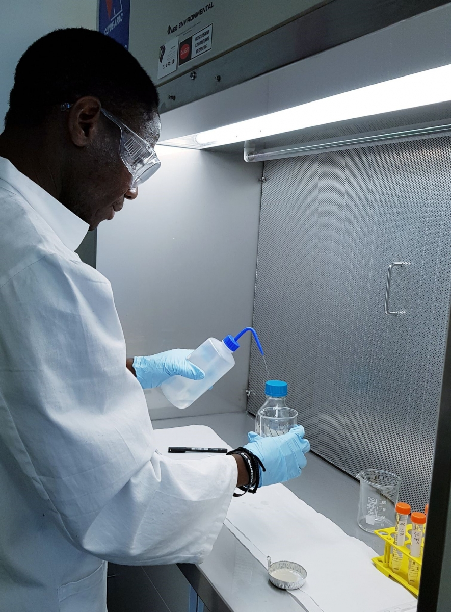 Danladi Yunana, PhD Student, undertaking laboratory analysis