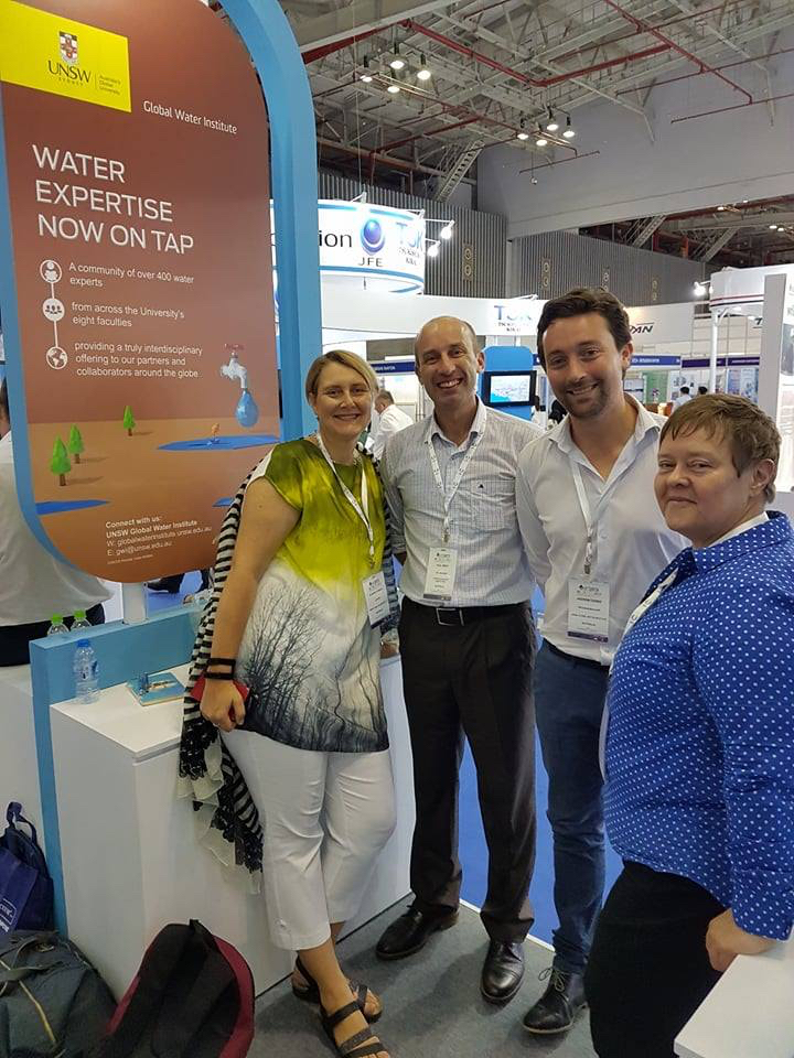 GWI Team Dr Susanne Schmeidl (left), Dr Andrew Dansie (2nd from right) and Dr Kim Spurway (right) with AWA's International Manager, Paul Smith (2nd from left) at Vietwater'17, Ho Chi Minh City.