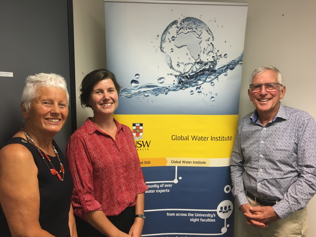 Dr Nina Hall with parents, Mrs Gwenda Lansbury and Emeritus Prof Russell Lansbury, Industrial Relations, University of Sydney, at UNSW-GWI seminar