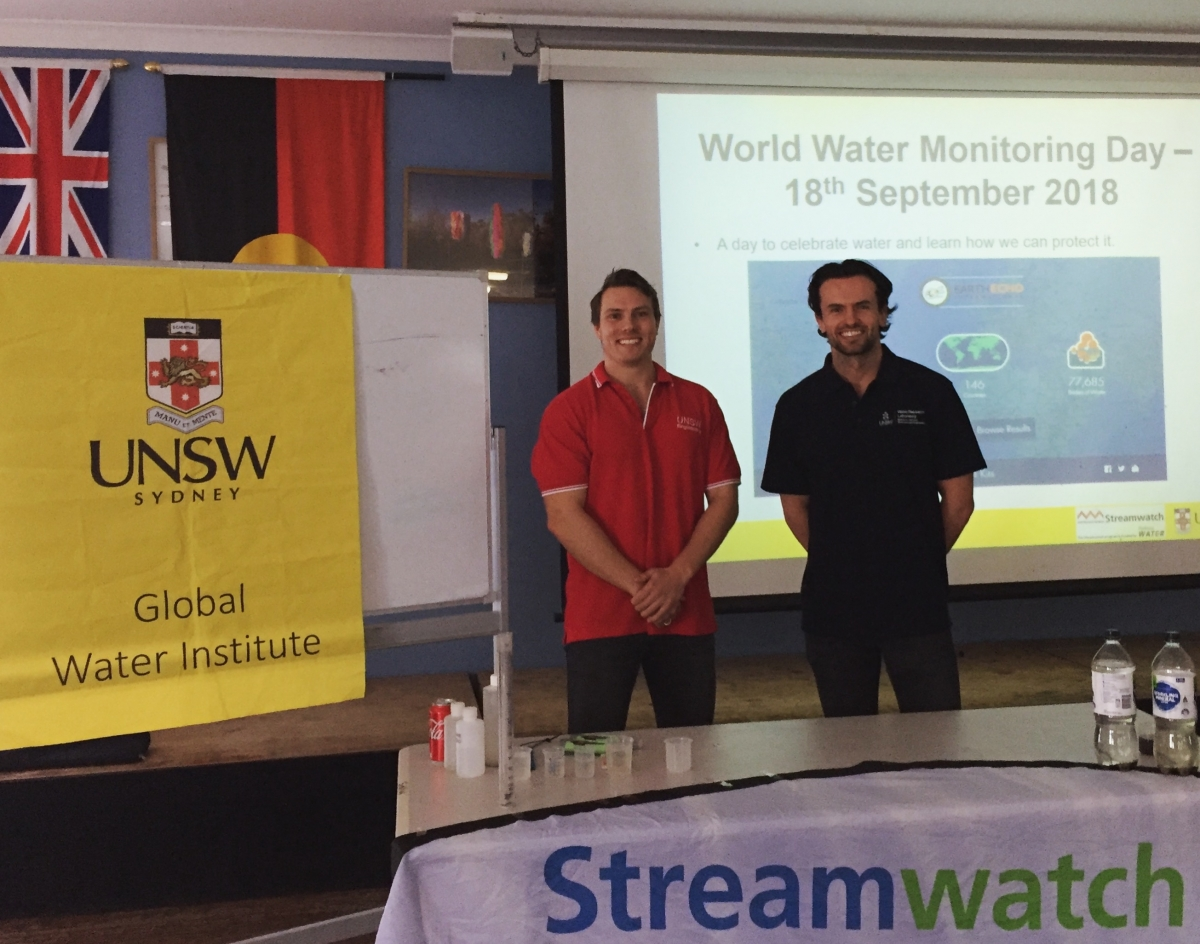 Tomas Beuzen and Jamie Ruprecht , UNSW-GWI postgraduate students, were among those who visited seven schools across Sydney on World Water Monitoring Day.