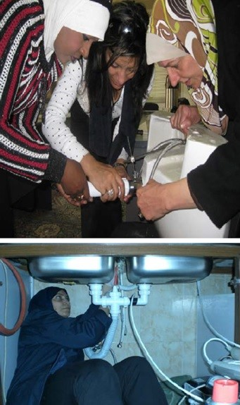 Women being trained as plumbers in Jordan. Image credit: Zafaar Adeel