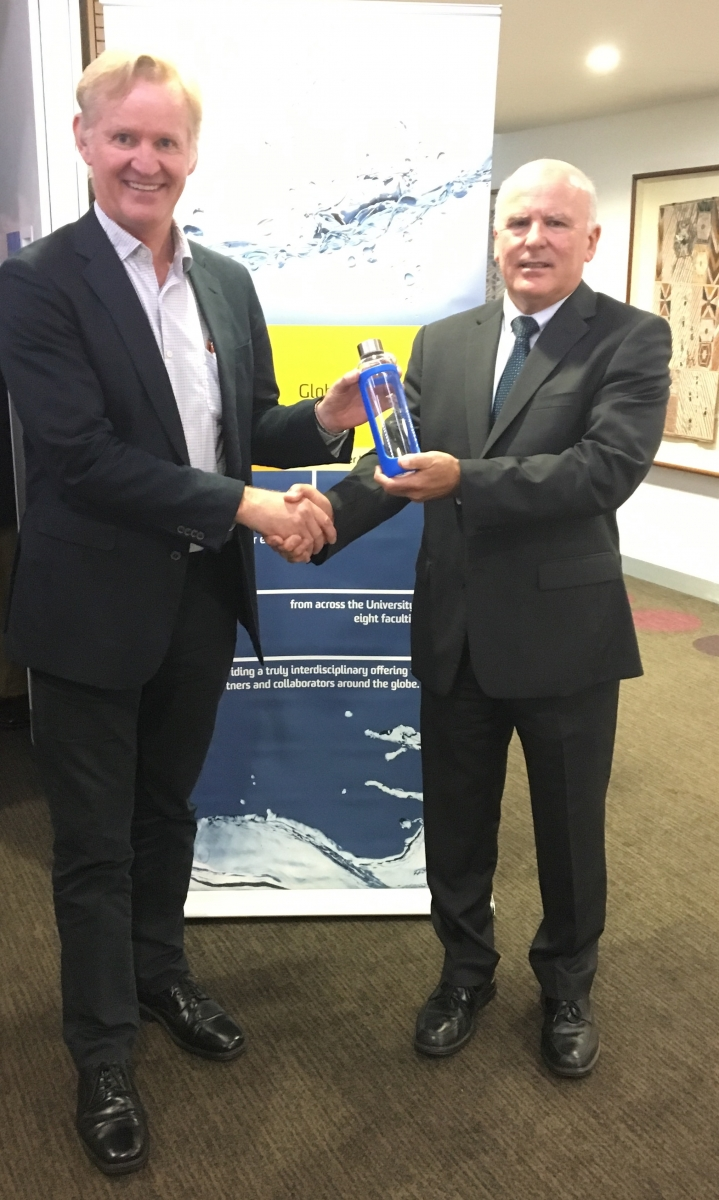 Prof Nick Schofield, GWI Director, with Richard McLoughlin, Assistant Secretary, Department of Agriculture and Water Resources